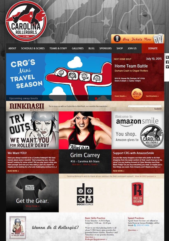 Carolina Roller Girls : un site d'athlètes féminines (avec achat de tickets et e-shop)