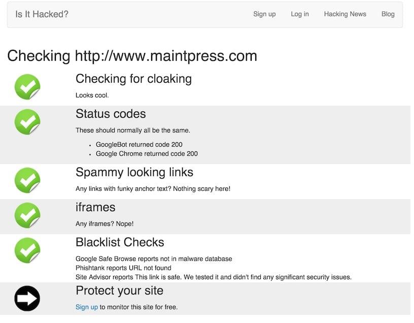 Vérifiez que votre site n'a pas été hacké lors de sa maintenance