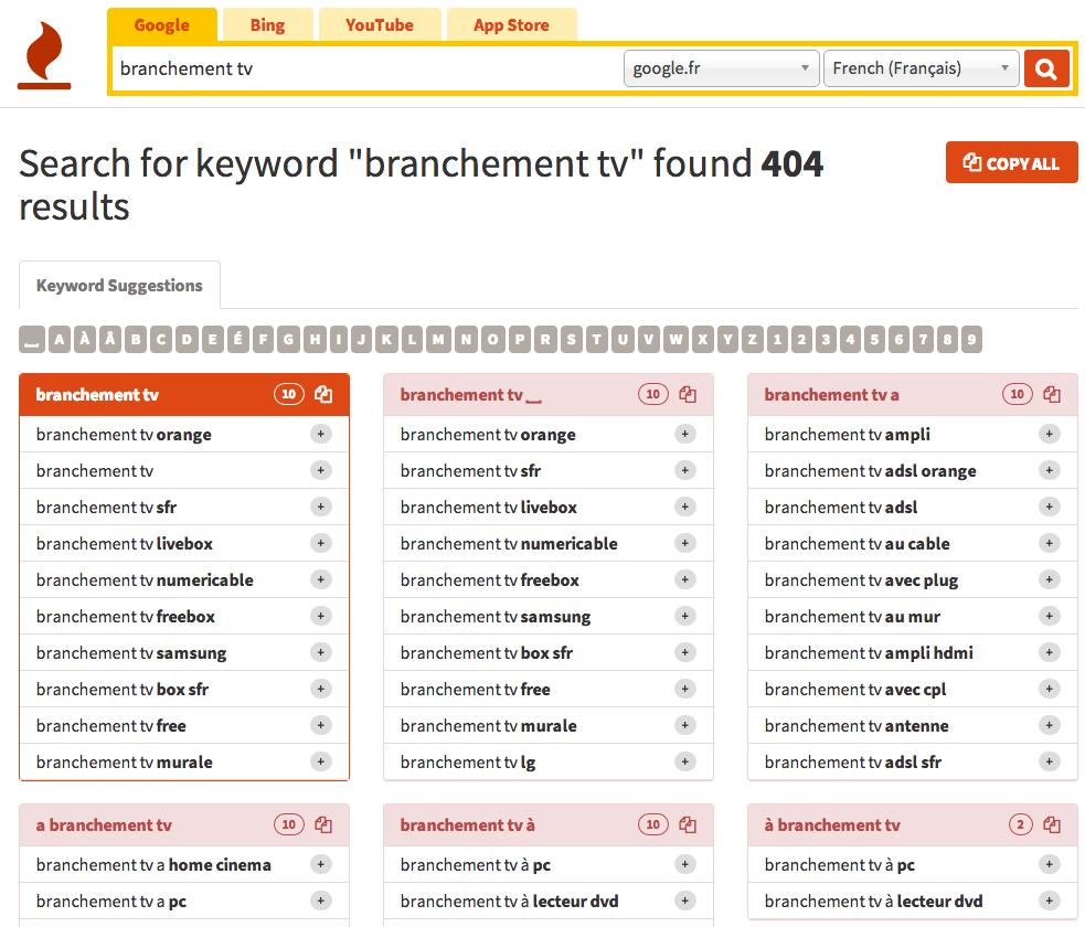 Trouvez des idées d'articles pour votre blog avec keywordtools