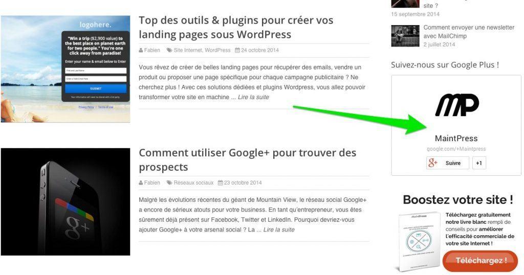 Ajoutez un badge Google+ à votre site