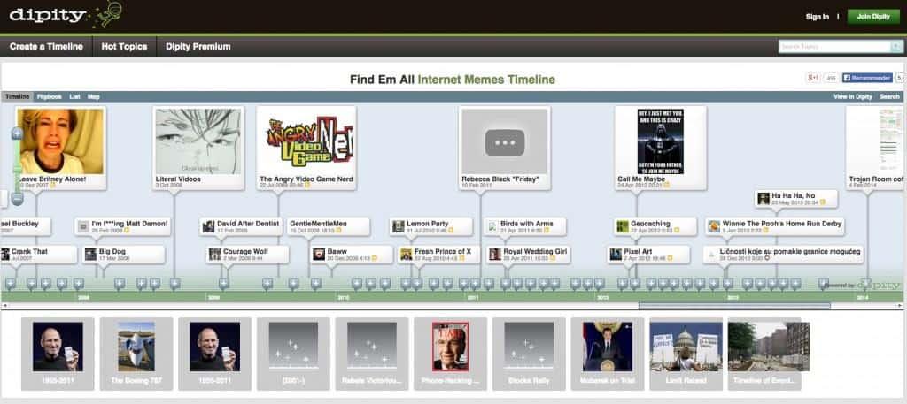 Dipity : création de timeline intuitive