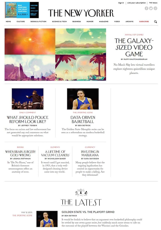 The New-Yorker : exemple de magazine en ligne qui prolonge l'édition papier