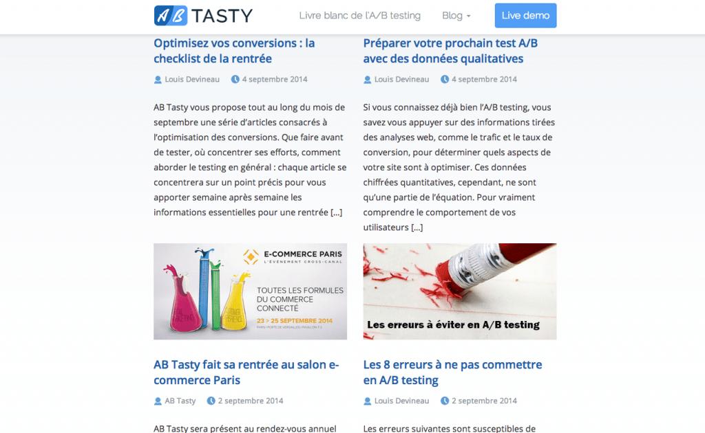 Le blog d'A/B Tasty : pédagogue et ciblé