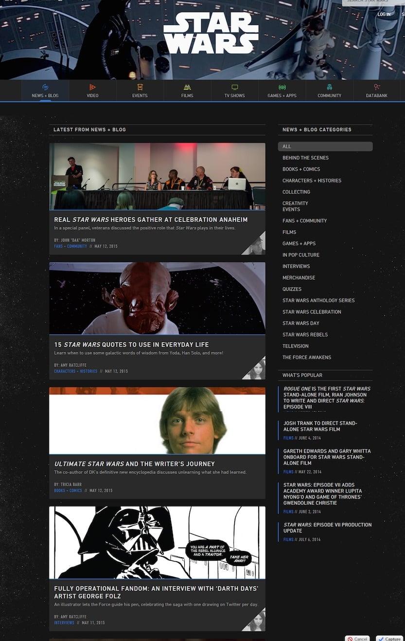 Star Wars Blog : exemple de blog officiel