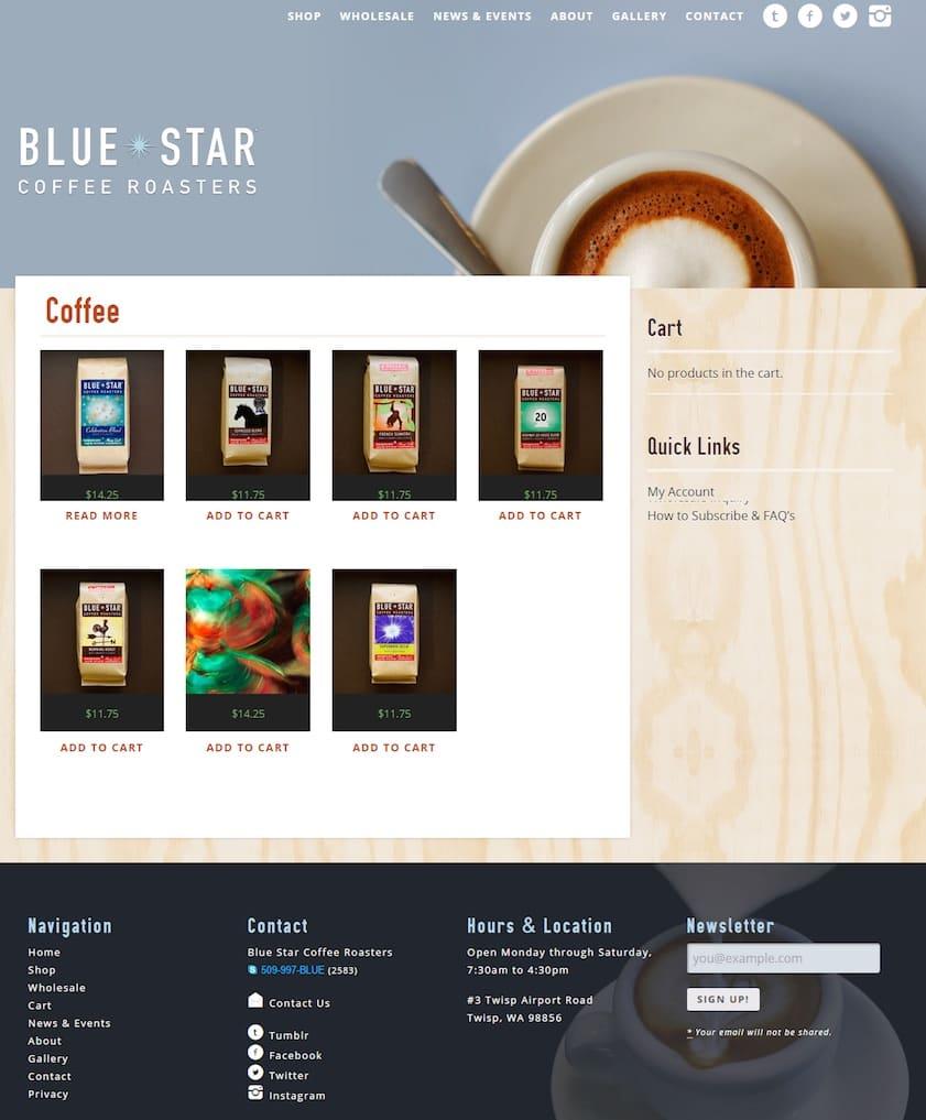 Blue Star Coffee Roasters : exemple d'e-boutique personnalisée avec WordPress