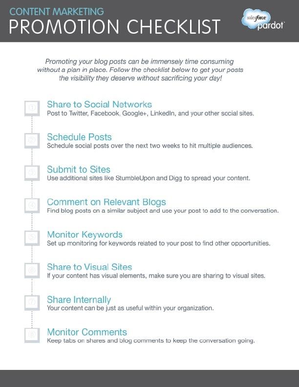 Exemple de checklist pour la promotion de votre contenu
