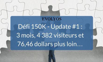 [Défi 150K] Update #1 : 3 mois,  4 382 visiteurs et 76,46 dollars plus loin…
