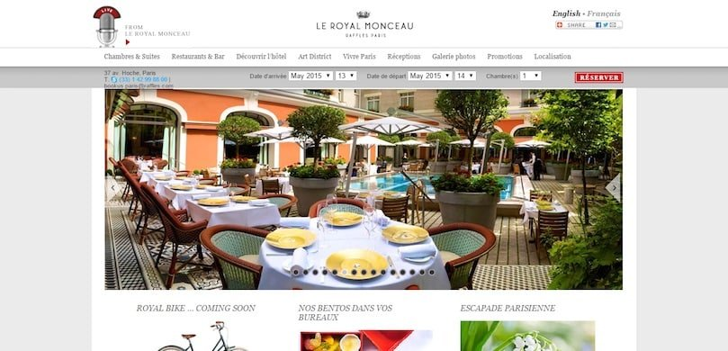 Le Royal Monceau : un site de palace construit avec WordPress
