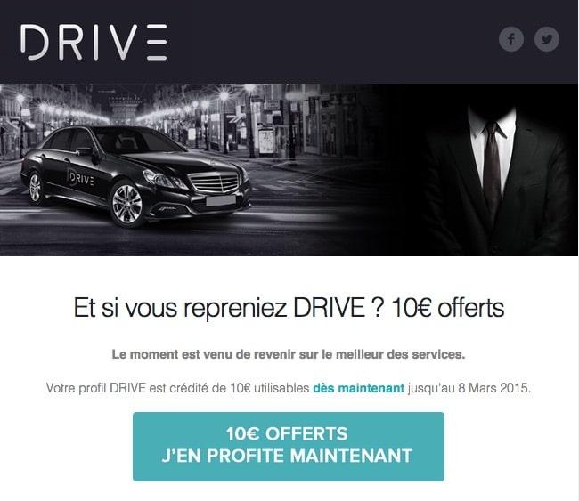 Drive propose un coupon de réduction pour inciter à réutiliser leur service