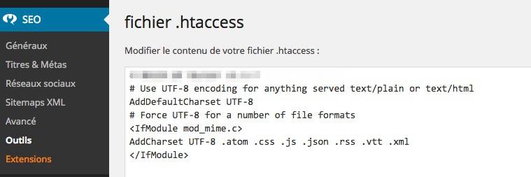 Editez votre fichier .htaccess sous WordPress avec le plugin Yoast SEO