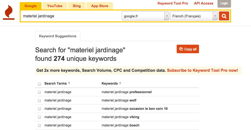 Renforcez le référencement de vos mots clés les plus importants avec Keywordtool