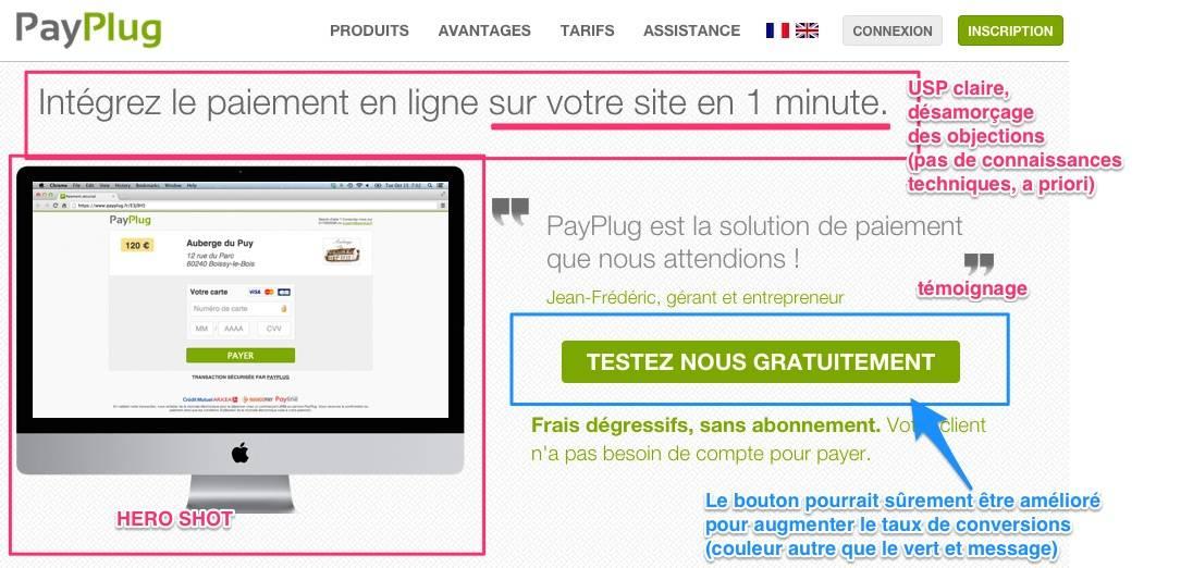 Landing page efficace : ouvrez sur une solution, exemple de PayPlug