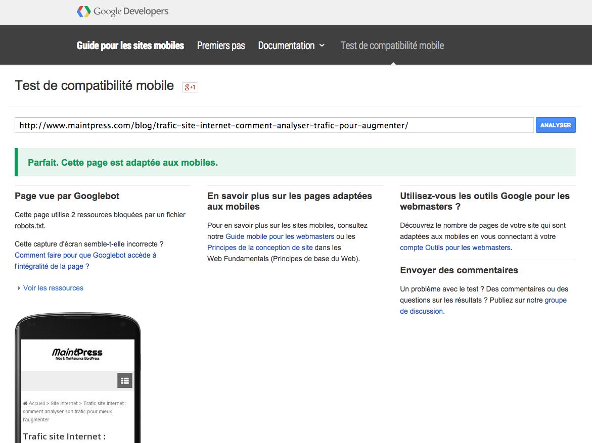 Testez vos pages sur mobile