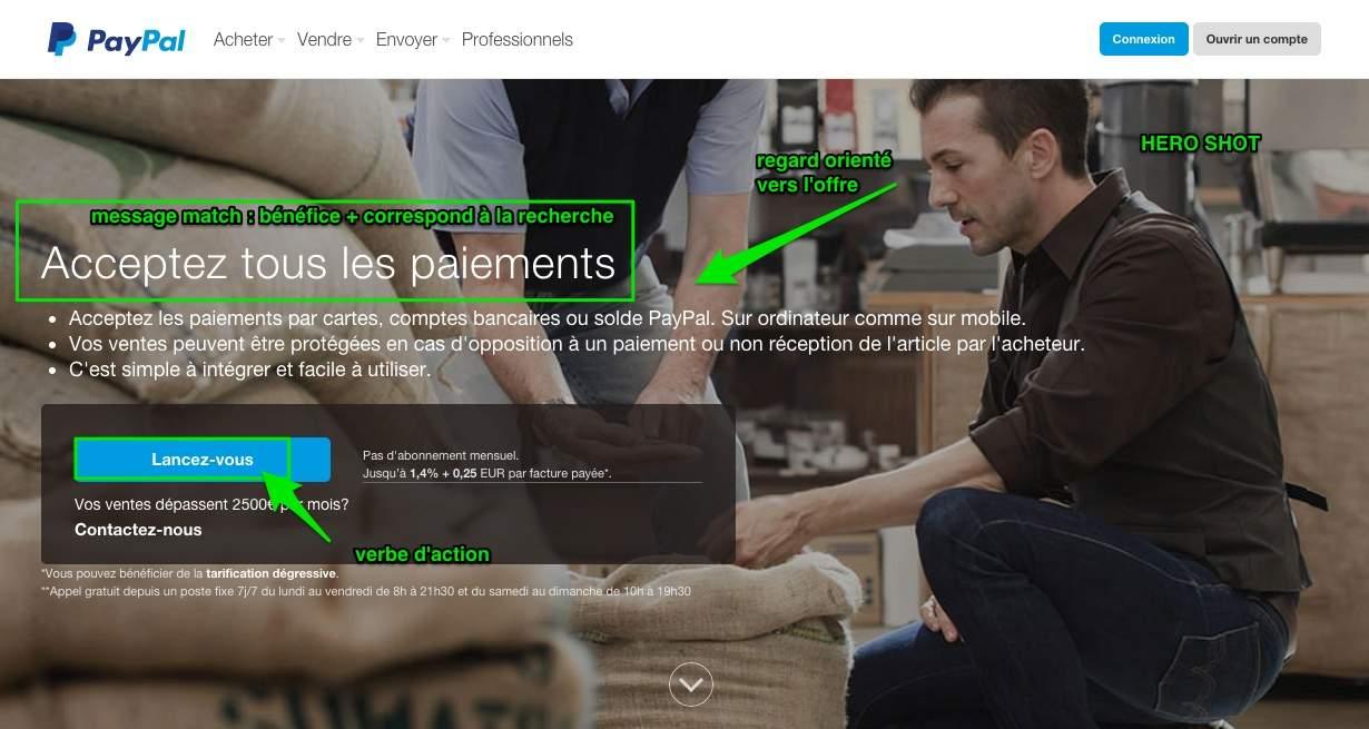 Landing page réussie : ouvrez sur une solution, exemple de PayPal
