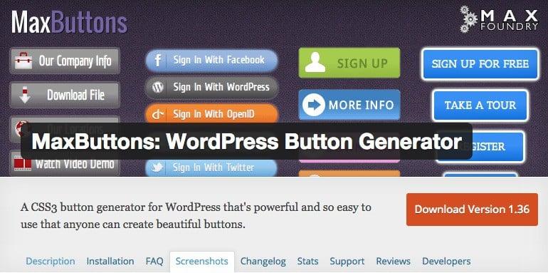 MaxButtons est un générateur de boutons pour WordPress