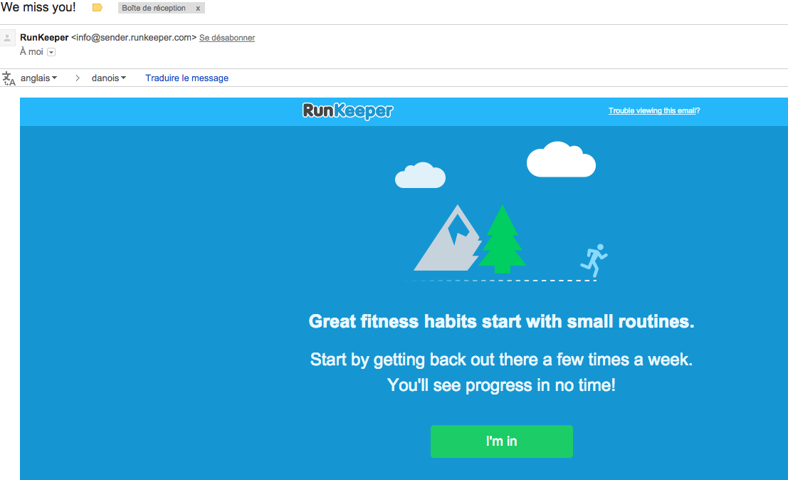 Exemple de newsletter de réengagement : RunKeeper