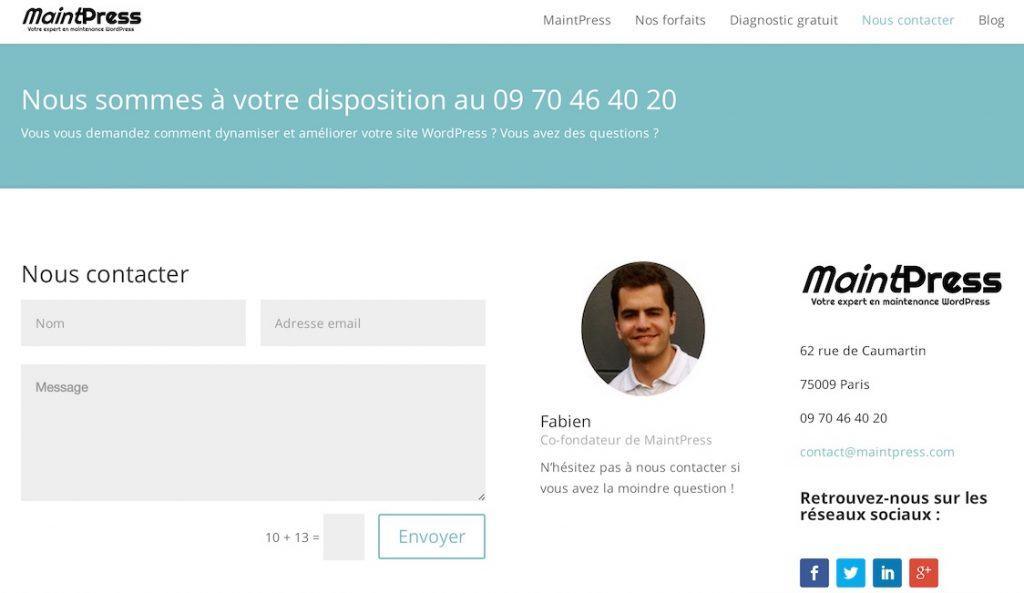 Personnalisez votre page Contact