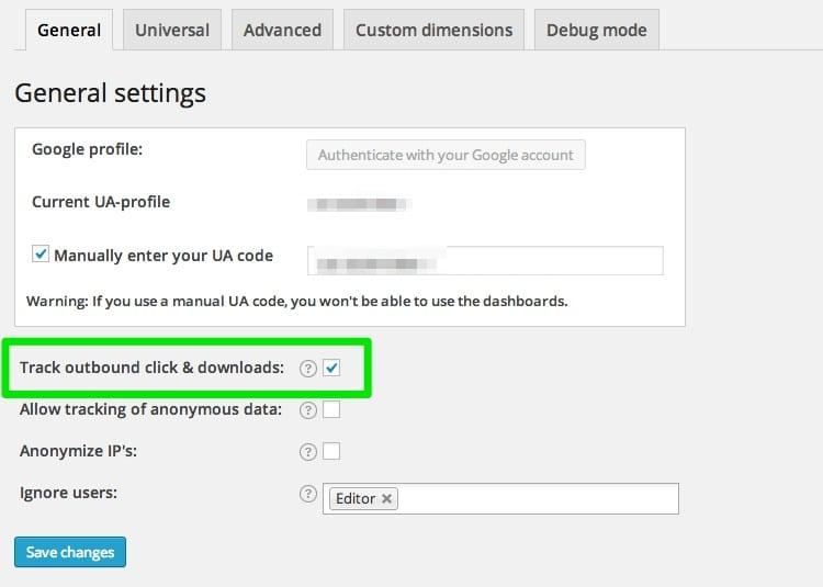 Le plugin Google Analytics by Yoast vous permet de suivre les téléchargements et liens sortants