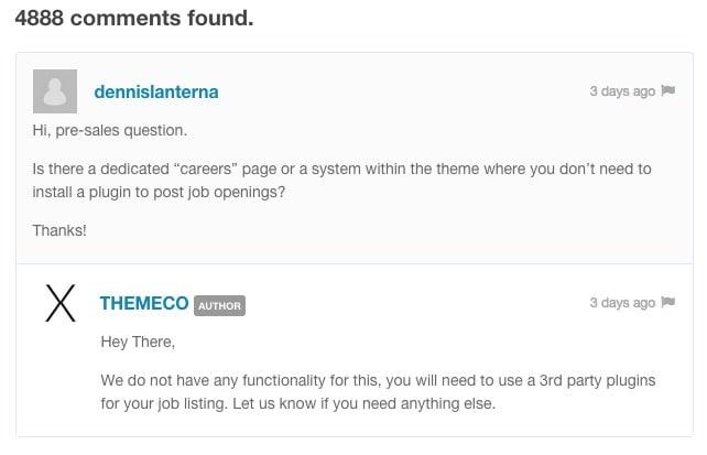 Poser une question avant l'achat d'un thème sur ThemeForest