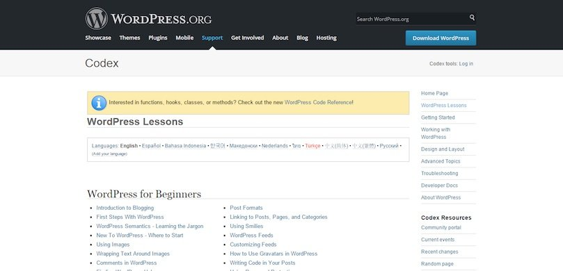 Le Codex WordPress (gratuit)